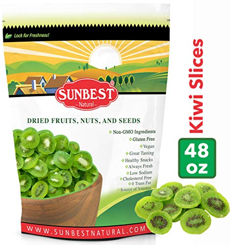 SUNBEST Dried Kiwi Slices in Resealable Bag, Kosher Certified - Slices Kiwi
