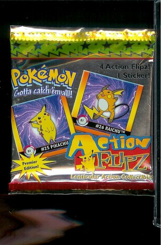 Pokemon Action Flipz Lenticular Action Trading Card Pack - 4 action Flipz cards and 1 sticker! (Pokemon Action Flipz)