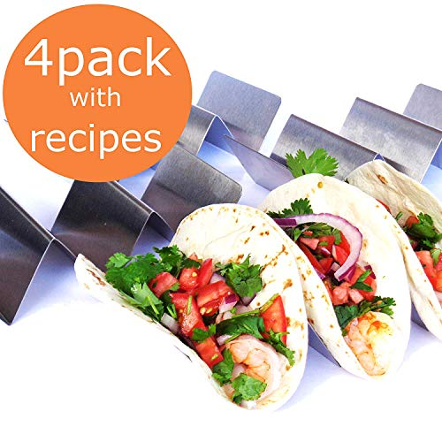 TACO HOLDER - HOLDS 3 TACOS EACH, SET OF 4 Stainless Steel Taco Holders, Taco Trays, Taco Stand for Hard Shell, Soft or Street Tacos with FREE RECIPE BROCHURE by Ovation Home