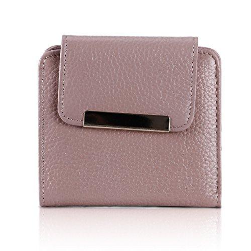 (Lady Mini Leather Trifold Wallet Slim Purse Credit Card Clutch Holder Vintage Short Wallets for Momen (Lively pink))