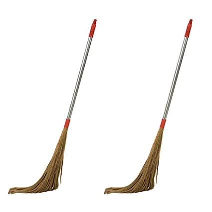 Ivaan Steel Handle (42 inch) Eco Friendly Soft Grass Floor Broom Stick for Floor Cleaning (Phool Jhadu) Set of 2