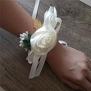 4Pieces/lot Bride Wrist Corsage Silk Rose Women Children Hand Wedding Flowers Party Decoration 35