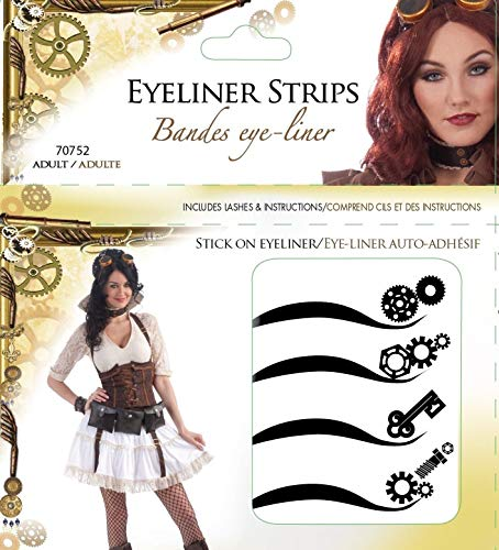 Forum Novelties Women's Steampunk Adhesive Eyeliner Strips Kit, Multi, One Size