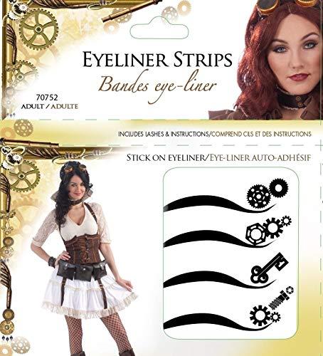 Forum Novelties Women's Steampunk Adhesive Eyeliner Strips Kit, Multi, One Size -