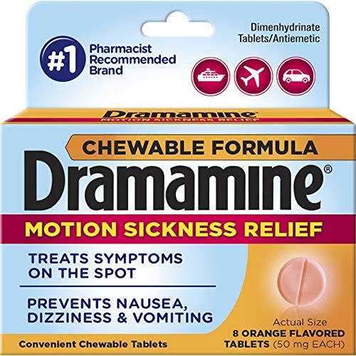 Dramamine Chewable Motion Sickness Relief, 8 Tablets Each (Pack of 7)