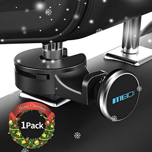 MEIDI Car Headrest Mount, Universal Car Backseat Hook for Bags Purses, Magnetic Headrest Holder for Smart Phones Tablets (Silver)