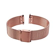 Xuexy 14mm Pebble Time Round with Quick Release Spring Bars/Pins Milanese Wire Mesh Stainless Steel Watch Band Strap Replacement Bracelet,Rose Gold