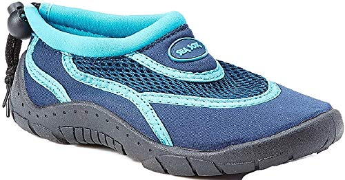 r Shoes Aqua Socks Beach Pool Yoga Exercise Navy/Aqua Little Kid 2 ()
