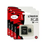 Kingston Digital 8GB microSDHC Class 4 UHS-I 45MB/s Read Card with SD Adapter (SDC10G2/8GB) (Pack of 3)