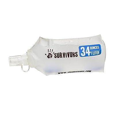 12 Survivors 1L Bottle Collaps ible Water, transparent, S