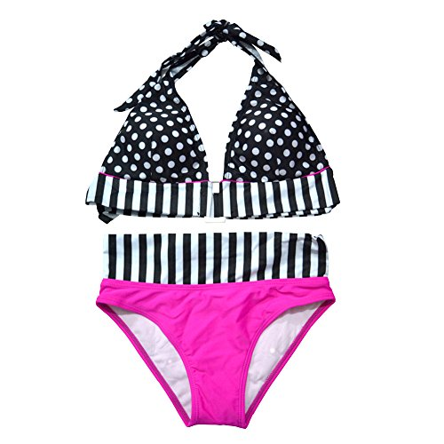 Women Swimsuit Egoshop Polka Dots Design Sexy Girl Beach Middle Waist Bikini Swimwear, 2 Pieces Set, Size X
