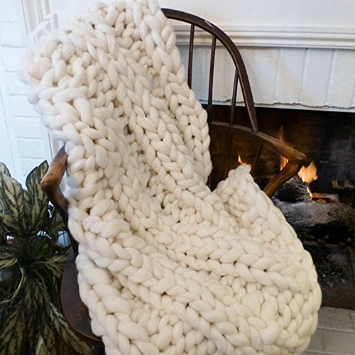Handmade Wool Yarn Chunky Knit Blanket,Large Giant Blanket,Cream White Super Chunky Blanket,Giant Knit Blanket,Thick Yarn Blanket,Bulky Extreme Arm Knitting Throw Blanket (Cream White, 50x60) by Popular Knit Chunky Blanket