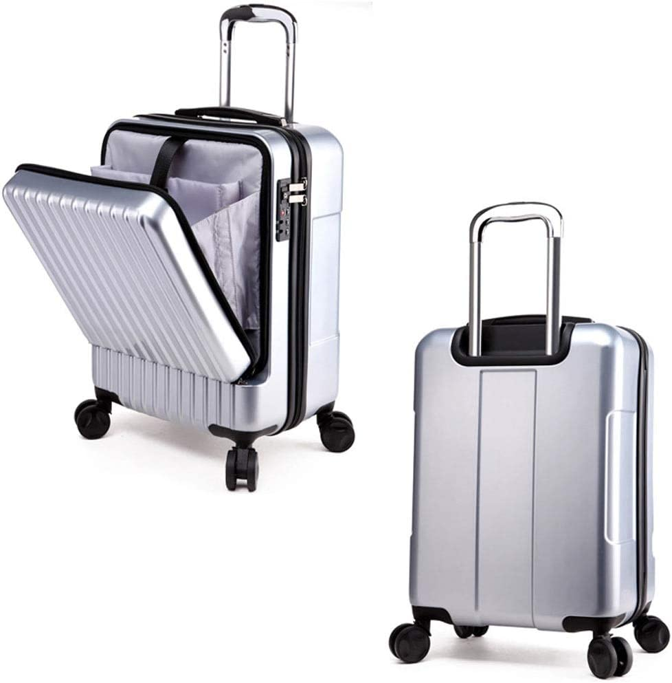 Trunk Front Opening Luggage Trolley Suitcase Boarding Universal Wheel Password Travel Consignment Unisex 3 Colors MUMUJIN Color : Champagne, Size : 24 inches