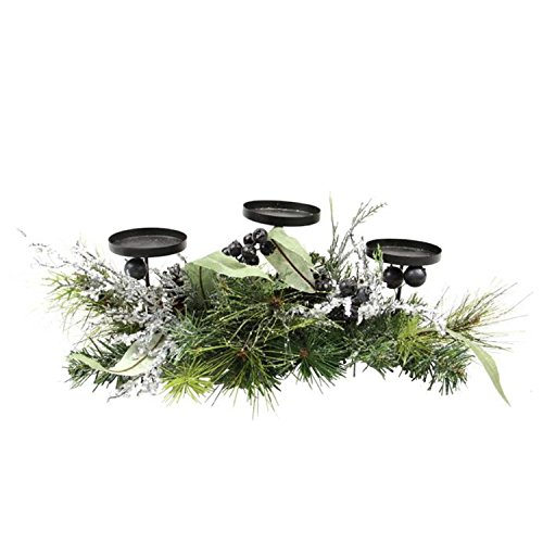 (Northlight Mixed Pine with Blueberries Pine Cones and Ice Twigs Christmas Candle Holder Centerpiece, 22
