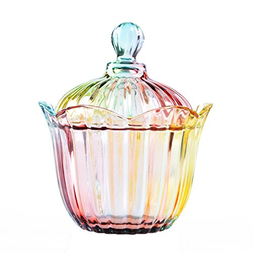 LONGWIN Crystal Candy Jar with Lids Elegant Wedding Decoration Sweet Container