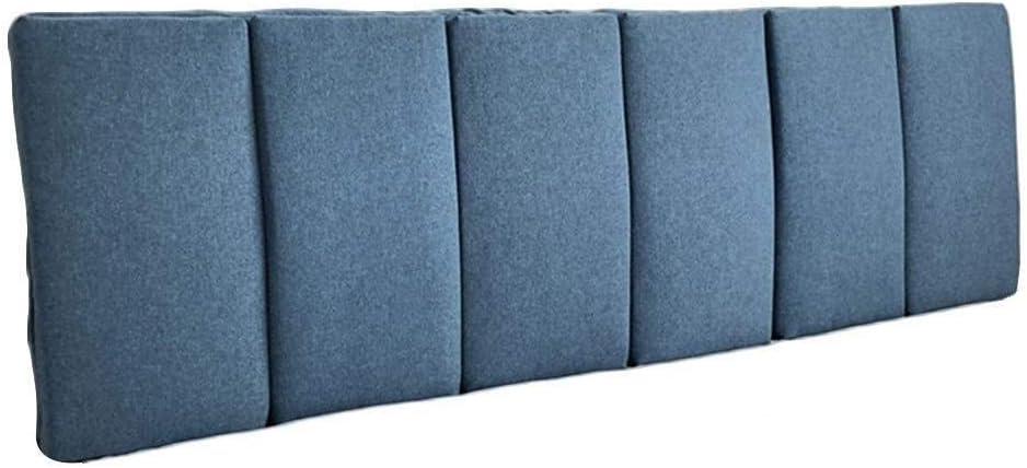 Grande Cuscino Testiera di Tessuto Morbido Cuscino dello Schienale del Letto Senza Cuscino di Posizionamento della Testata Posteriore Rimovibile E Lavabile Color : Dark Blue, Size : 120X50cm