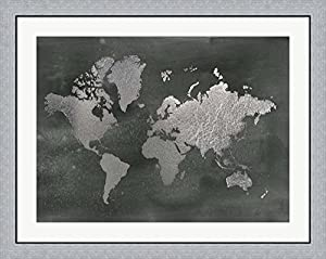 Amazon silver foil world map on black metallic foil by silver foil world map on black metallic foil by jennifer goldberger framed art print wall picture flat silver frame 38 x 30 inches gumiabroncs Choice Image
