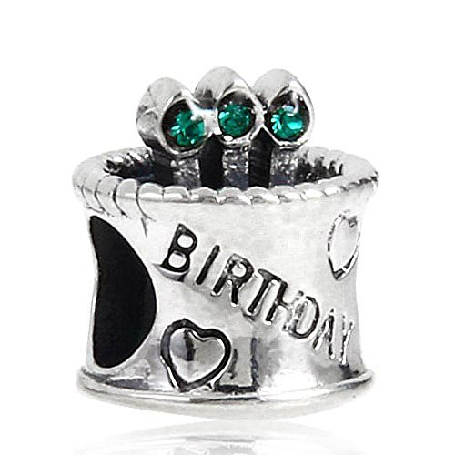 Incredible Bling Green Crystal Happy Birthday Cake Birthstone Bead Fits Birthday Cards Printable Inklcafe Filternl