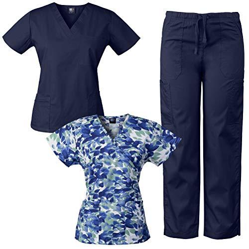 Medgear Womens Scrub Set and Mock-Wrap Print Top Combo Medical Uniform (Navy/OCLB, XL) ()