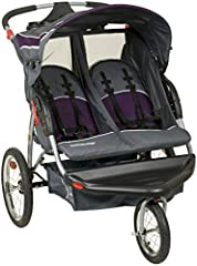 The Baby Trend Double Jogger in Elixer is a great option for parents who have twins. With the locking front swivel wheel, it makes maneuvering much easier and includes pneumatic bicycle tires. The ratcheting shade canopy provides shade and co...