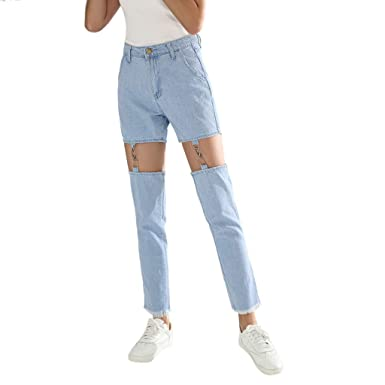 340c5cfddc Kehen Women s Sexy High Waisted Skinny Stretchy Jeans Fashion Hollow  Splicing Denim Pants Light Blue Small