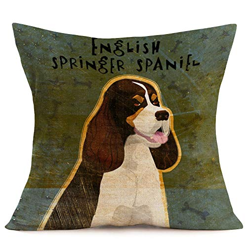Asamour Lovely Pet Dog Series Throw Pillow Covers Animal Dog Portrait Cotton Linen Throw Pillow Case Cushion Cover Home Sofa Decorative Pillowslip 18x18 Inches (English Springer Spaniel)