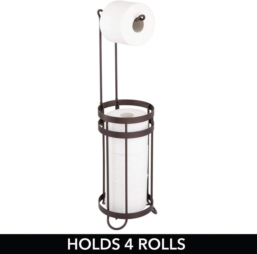 Dispensador de papel higi/énico para 3 rollos de repuesto Moderno portarrollos de papel higi/énico para el ba/ño para varios rollos mDesign Portarrollos de pie para papel higi/énico color bronce