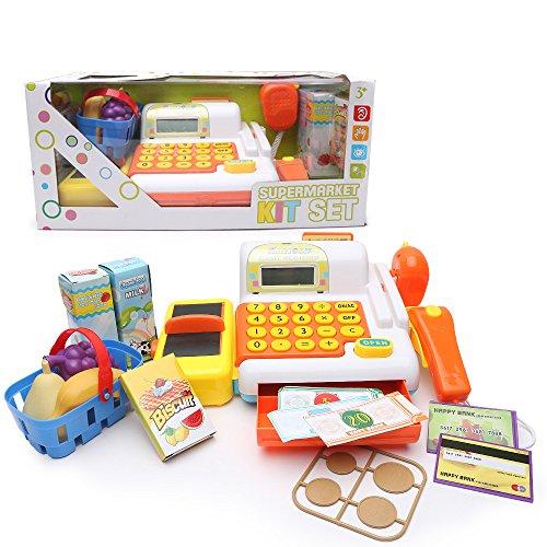 Supermarket Cash Register Pretend Playset - Happytime ZM1601301 2017 New Set Supermarket Shopping Cash Register Pretend Role Playset With Checkout Scanner, Weight Scale , Learning Toys for Kids