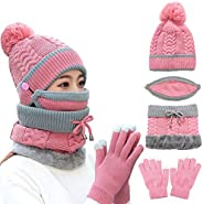 4PCS Women Winter Thickened Knitted Beanie Hat Scarf Gloves Set with Gift Box