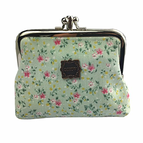 OSHOW Womens Canvas Floral Coin Purse Buckle Clutch Pouch Small Wallet, Green -