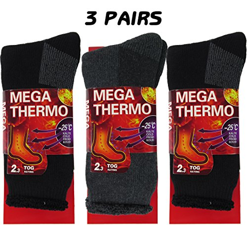 Thermal Socks For Men, 3 Pairs Insulated Heated Socks, Boot Socks For Extreme Temperatures By DEBRA WEITZNER Black/Grey, Sock Size 10-13