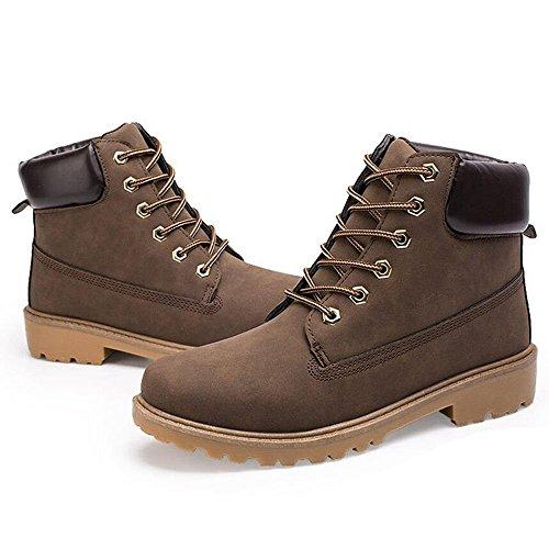 Pour Keephen Extérieure Travailleur Combat Casual Bandages Lace Martin Hiver Bottines Brown Boot Up Bottes Hommes Mid w7Br4qROw
