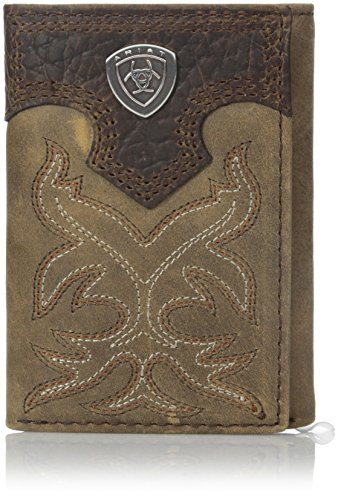 (Ariat Boot Embroidery Tri-Fold Brown, Medium)