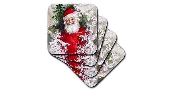 3dRose cst/_171464/_1 Clap Saddle-Santa Claus-Soft Coasters Set of 4