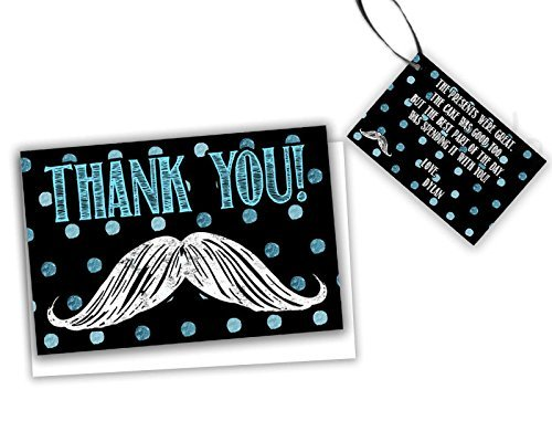 Amazon Com Mustache Thank You Cards Baby Shower Birthday Little Man