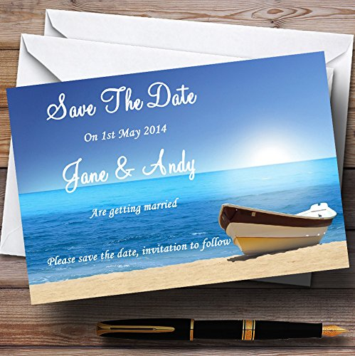 Beach Married Abroad Personalized Wedding Save The Date Cards