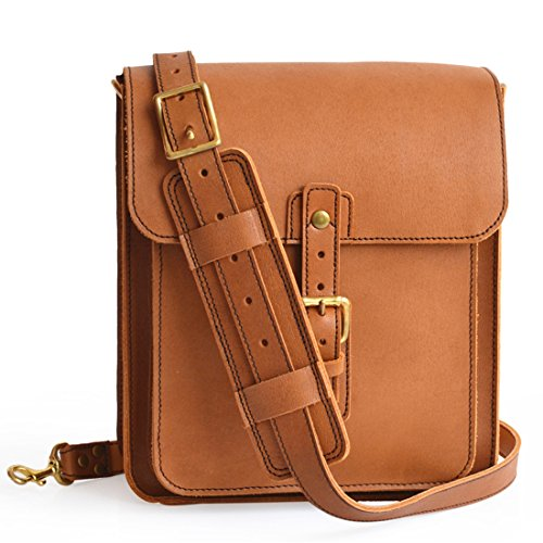 Marlondo Leather Vertical Crossbody Bag - Full Grain Leather (Tobacco) by Marlondo Leather