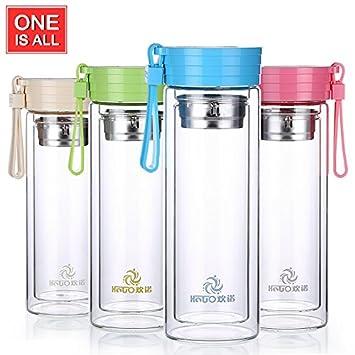 Botella de agua de vidrio infusor de té botella doble ...