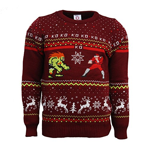 Street Fighter Official Blanka vs Bison Christmas Jumper/Ugly Sweater UK S/US XS Red