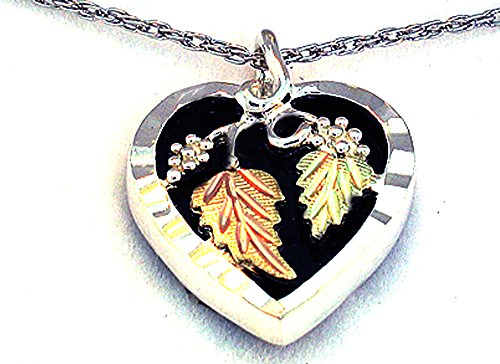 Pretty! Diamond cut Sterling-silver Yellow-gold Black Hills Gold Genuine Onyx Heart Pendant