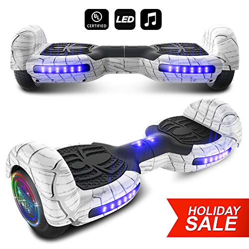 (CHO Spider Wheels Series Hoverboard UL2272 Certified Hover Board with 6.5 inch Wheels Electric Scooter Smart Self Balancing Wheels (White))