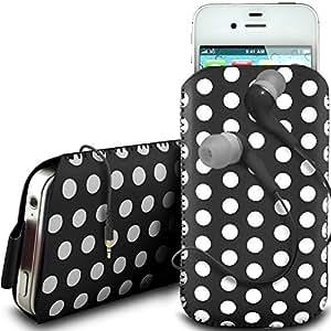 Online-Gadgets UK - BlackBerry Curve 8520 de protección de cuero PU Tire Pestaña Diseño Polka deslizamiento del cable en caso de la bolsa con cierre rápido y 3.5mm Auriculares ergonómicos - Negro