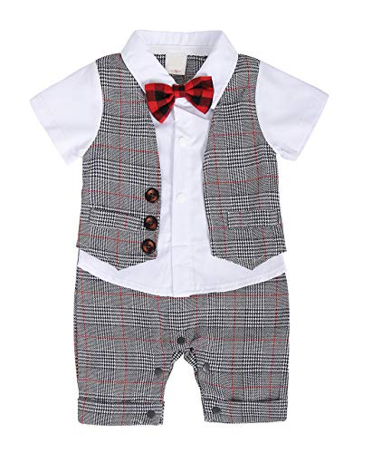 MetCuento Baby Boy Suit One Piece Romper Gentleman Wedding Outfit Bowtie Waistcoat Formal Tuxedo Onesie Party Photoshoot Summer Clothes 6-12 Months