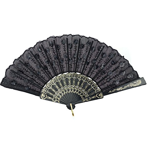 INNOLIFE Elegant Embroidered Flower Peacock Pattern Sequin Fabric Folding Handheld Hand Fan Hand-crafted (Black)]()
