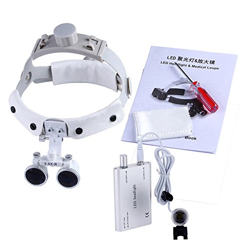 Zgood Dental White LED Head Light + Dental Surgical Glasses Binocular Loupes DY-108 3.5X-R by Zgood (Image #5)