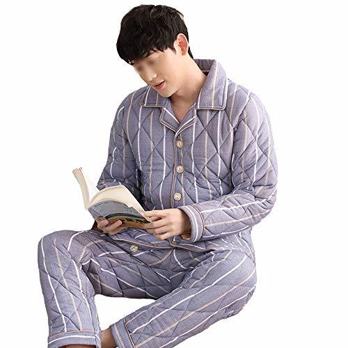 Conveniente Manga Casual Traje B Espesar Larga Algodón Mujer Chándal Pijamas Piezas Invierno Pisos Tamaño Cálido De Amantes Tres Dos Hombre L Pijamas male Gwdj Mantener Color wqBUzCaT