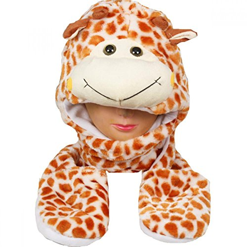 [Giraffe_(US Seller)New Plush Cartoon Hat Long Warm Full Hoodie Hat] (Hobbes Costumes For Sale)