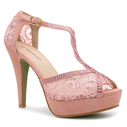 Top Moda Womens Hy5 Formal Evening Party Lace Ankle T-Strap Peep Toe Stiletto High Heel Pumps,Blush,6