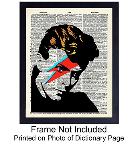 David Bowie Unframed Wall Art Print - Great Gift for Rock n Roll Music Fans - Chic Home Decor - Ready to Frame (8x10) Photo - Ziggy Stardust ()