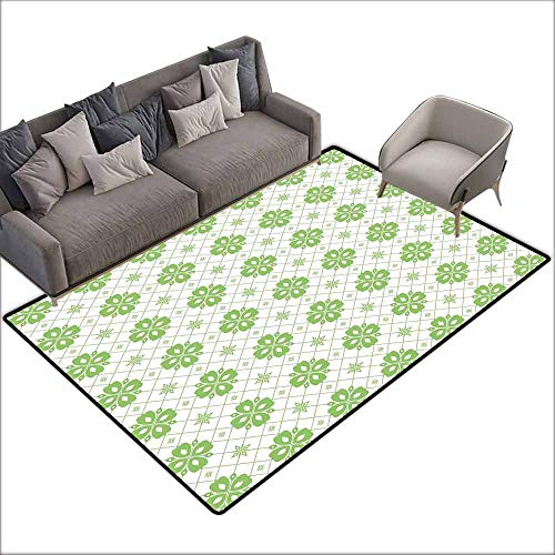 Floor Mat Entrance Doormat Green Leaf,Diagonal Checkered Backdrop with Ornate Blossoms Artistic Clover Flowers,Lime Green White 48